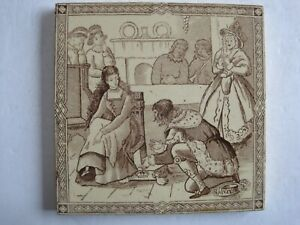 Antique Victorian Malkin Cinderella Brown On Buff Transfer Print Tile C1880 2