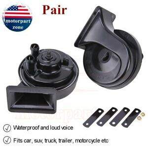 2 Pcs 12v Loud Car 110db 510hz Dual Tone Snail Electric Air Horn Truck Universal