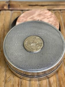 English Sterling Silver Gold Pillbox Compact