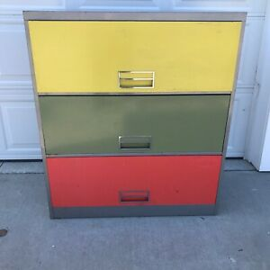 Vintage Mcm Retro Color File Cabinet Office Steelcase Yellow Green Orange Gray