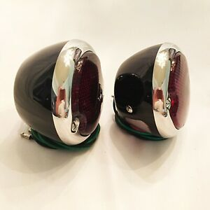 Hot Rod 1933 36 Ford Tail Lights Black With Pol S s Bezels 1 Pair