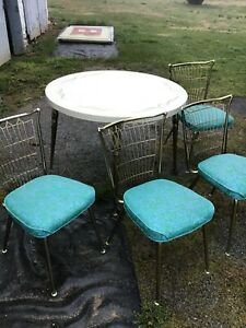 Mid Century Chrome Brass Formica Kitchen Dinette Set Table 4 Chairs Vintage