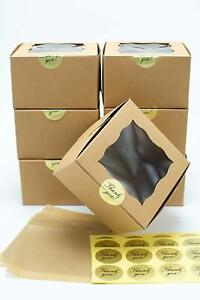 Brown Bakery Boxes 50 Pack With Display Window For Small Cake Cookie Dessert