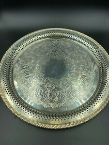 Vintage Wm A Rogers 12 Silver Plated Round Serving Tray Platters