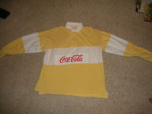 VTG 1980'S COCA COLA  RUGBY STYLE LONG SLEEVE POLO SHIRT RARE YELLOW ADULT L
