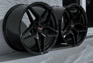 Black Carbon Flash C7 Zr1 Corvette Wheels 2006 2013 Z06 Grand Sport 18x9 5 19x12