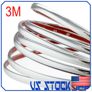 3m X 6mm Chrome Moulding Trim Strip Car Door Edge Decoration Guard Protector
