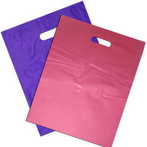 100 Plastic Merchandise Shopping Bags Gift Retail 12x15 Pink Purple With Handle