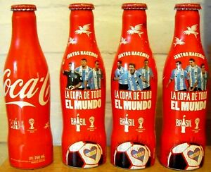 SET OF 4 COCA COLA ALU BOTTLES FIFA WORLD CUP BRAZIL 2014 FROM ARGENTINA