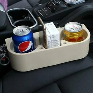 Beige Car Seat Seam Gap Wedge Cup Holder Drink Bottle Stand Storage Organizer Sh