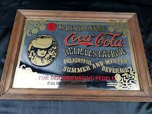 VINTAGE COCA-COLA MIRROR WOOD FRAME SIGN