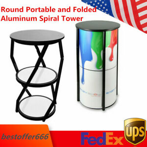 Round Portable And Folded Aluminum Spiral Tower Counter Structure Display Case