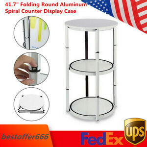 41 7 Folding Round Aluminum Spiral Counter Display Case With Shelves