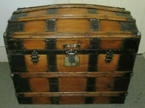Antique Steamer Trunk Vintage Classic Victorian Dome Top Wooden Chest Tray