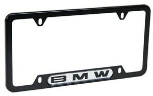 Genuine New License Plate Frame Stainless Black Steel For Bmw 82120010398