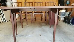 Henkel Harris Mahogany Drop Leaf Dining Table 44 24 48 72 4 Unmarked Chairs