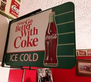 SPINNING Ice Cold COCA-COLA Things Go Better With Coke Tin Metal Sign In Bracket