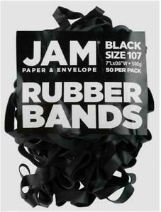 Jam Paper Durable Rubber Bands Size 107 Black Multi purpose Rubberbands 50