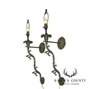 French Louis Xv Style Bronzed Metal Pair Electrified Will Lights Sconces