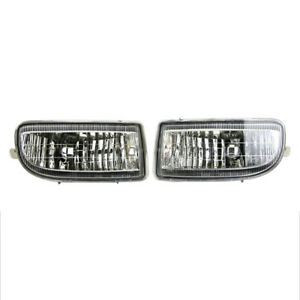 Pair Fit For Toyota Land Cruiser Fj100 Front Bumper Lamp Fog Light Clear Lens