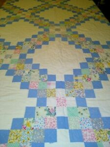 Vintage Hand Machine Stitched Patchwork Quilt 74 X 86 Blues And Pink Multi