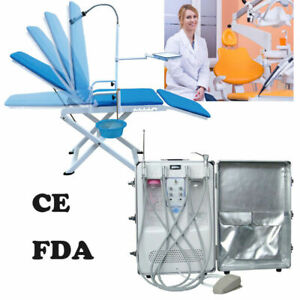 Dental Portable Delivery Turbine Unit Cart Air Compressor Suction Folding Chair