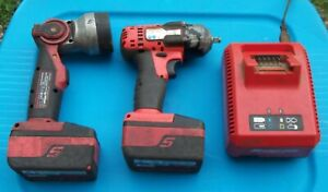 18v Snap on 3 8 Drive Impact Flashlight Charger 2 Batteries All Work Fine