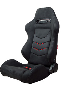 Cipher Black Microsuede W Red Piping Carbon Fiber Print Racing Seats Pair