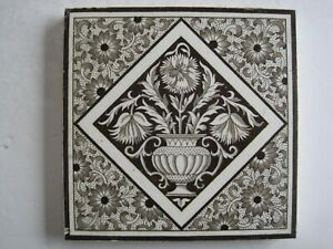 Antique Victorian Mintons Black On White Aesthetic Design Wall Tile C1885