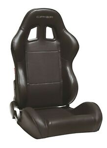 Cipher Auto Black Leatherette W Black Piping Universal Racing Seats Pair New
