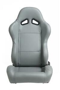 Cipher Auto Grey Leatherette Universal Euro Racing Seats New Pair W sliders