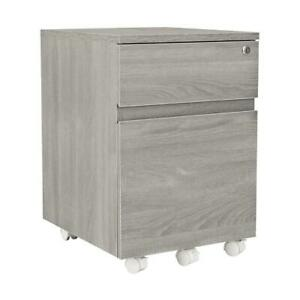Grey Rolling 2 Drawer Vertical Filing Cabinet Home Office Storage File Locking