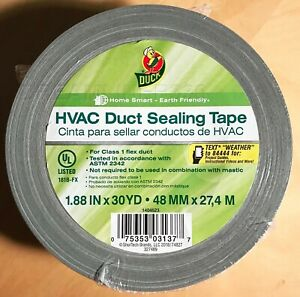 Duck Brand Hvac Duct Sealing Tape Silver 1 88 Inches X 30 Yards 1 Roll