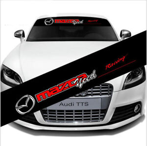 Racing Car Front Windshield Reflective Banner Decal Window Sticker For Mazda