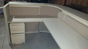 Typical L shape Office Reception Desk W pullout Drawer File Cabinet