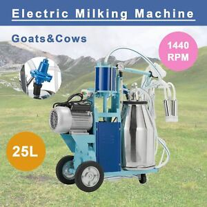 25l Electric Milking Machine For Goats Cows W bucket 2 Plug 12cows hour Milker