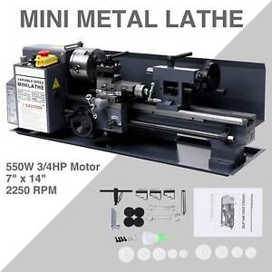 Mini Metal Lathe Machine Bed 7 X 14 550w Variable Speed 2250 Rpm Dc Motor