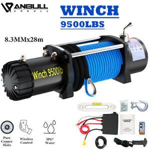 12v Black blue Ip67 Electric Winch 9500 Lbs With Synthetic Rope And Winch Cover