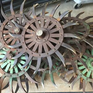 Vintage Metal John Deere Green Rotary Hoe Cultivator Wheel Filled Axles