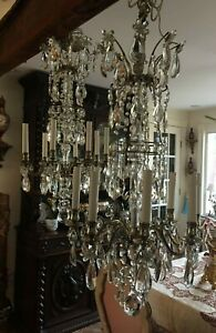 Fabulous Pair Antique French Bagues Style Silvered Bronze Crystal Chandeliers