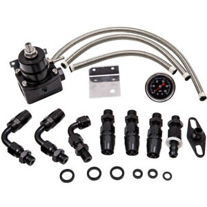 Universal Adjustable Fuel Pressure Regulator Kit 0 100psi An6 Fitting Hose End