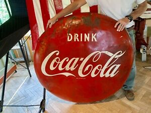 "Vintage Original Drink COCA COLA Coke 48"" Button Advertising Sign"