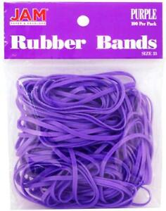 Jam Paper Colorful Rubber Bands Size 33 Purple Rubberbands 100 pack