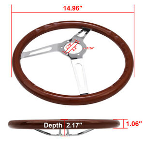 15 Inch Wooden Grain Steering Wheel Classic Wood Horn Kit