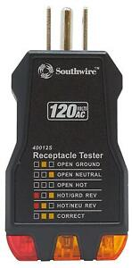 Southwire Tools Equipment 40012s Receptacle Tester Black