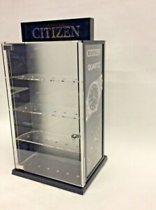 Vintage Citizen Watch Quartz Plastic Acrylic Display Case No Key Store Display