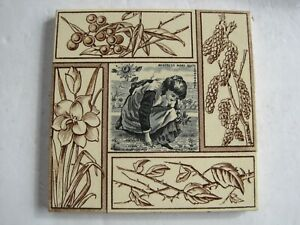 Antique Victorian Mistress Mary Quite Contrary Transfer Print Tile C1882
