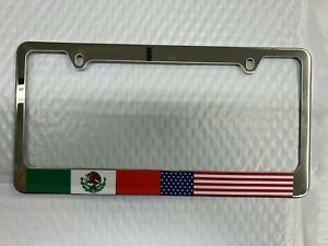 Usa American Mexican Mexico Flag Chrome Metal License Plate Frame Car truck Tag