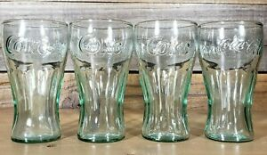 Small Coca Cola Glasses Set of 4 Marked IG Green Tint 4 3/8