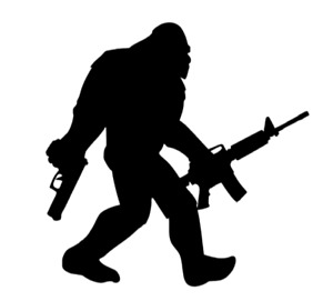 Sasquatch Big Foot Funny Vinyl Decal Window Sticker Car Tumbler Decal Ar 15 Guns